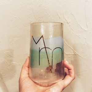 Anthropologie Green M glass cup